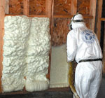 Spray foam insulation application